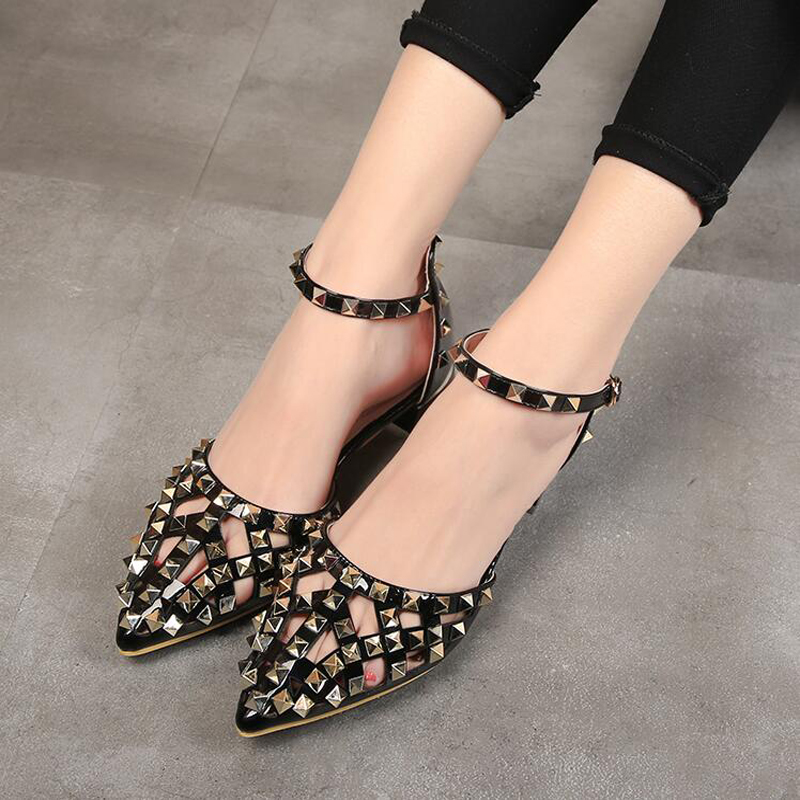 High Quality Luxury Brand Shoes New 2018 Summer Elegant Women Rivet Shoes Fashion Women Pointed toe Flats-in Women's Flats from Shoes    2