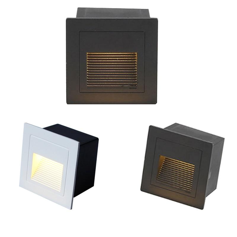 Lâmpada de parede led 3 w ip65 led luz da escada passo luz recessed enterrado lâmpada interior/exterior à prova dwaterproof água escada passo luzes AC85-265V