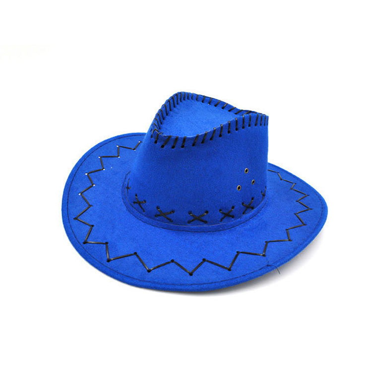 100pcs/lot Wide Brim Cowboy Hat Suede Look Wild West Fancy Dress Men Girls Solid Colors Gorros Cap Women's Hats Chapeau Femme 7