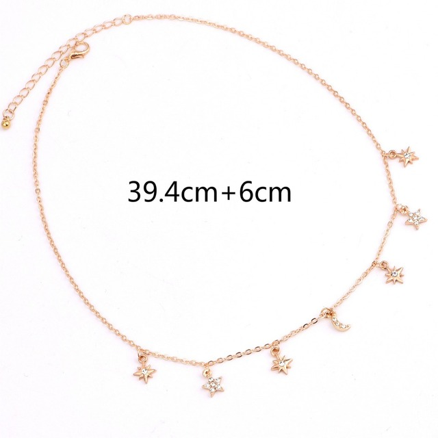 New fashion trendy jewelry moon star choker necklace gift for women girl N2096 5