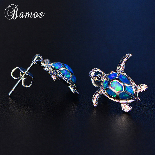 Bamos Blue Fire Opal Turtle Stud Earrings For Women S Cute Animal Jewelry Fashion White Gold