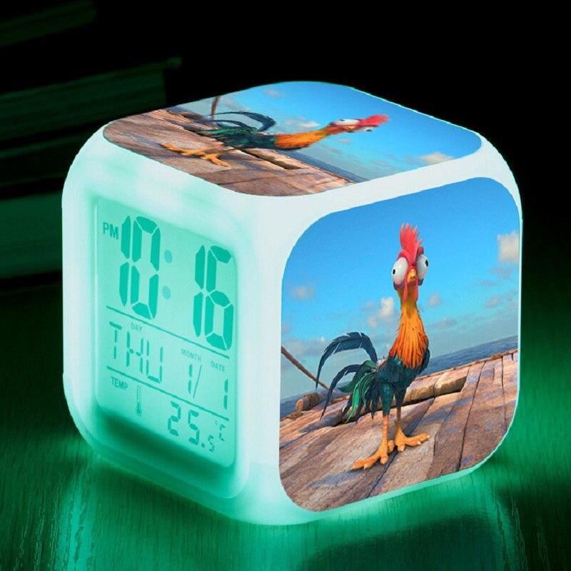 Anime Cartoon Movie TV Moana Toys Sleep Light Princess Moana Maui Waialik Heihei 7 Colors Changing LED Night led Clock for Kids