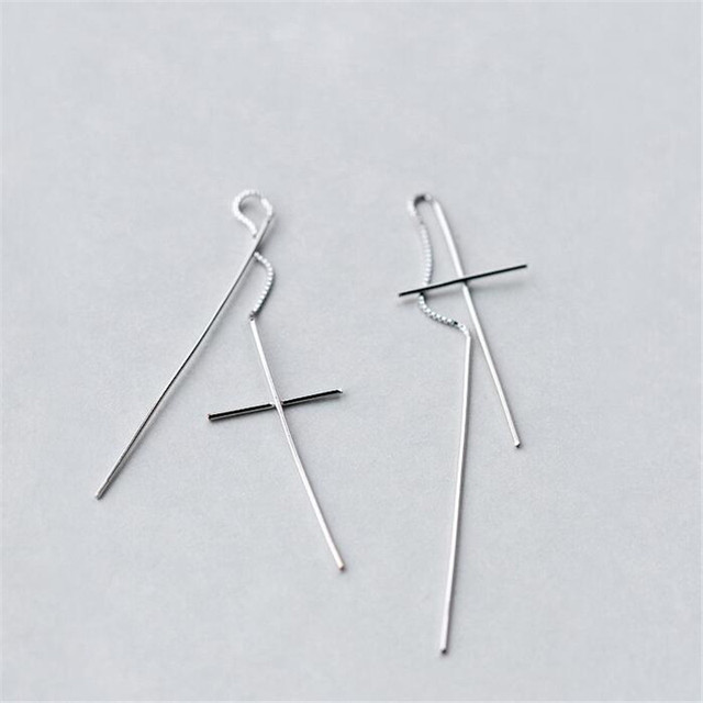 2018 New Design Long Fine Jewelry 925 Sterling Silver Cross Earrings Wire For Women