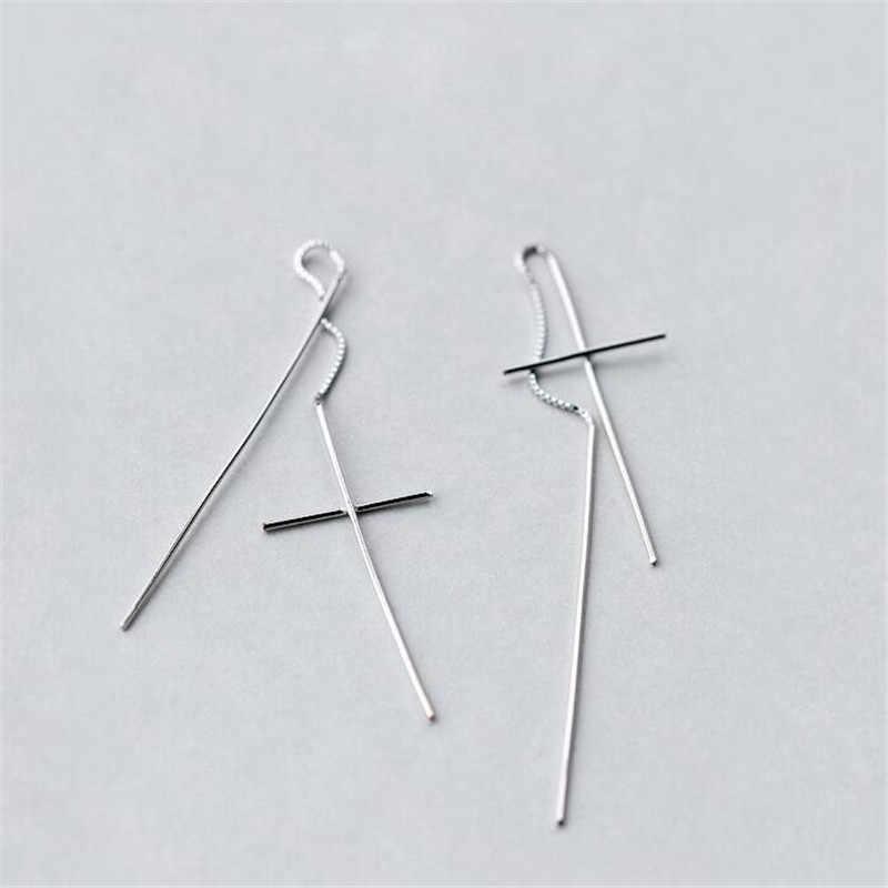 2019 neue Design Lange Feine Schmuck 925 Sterling Silber Kreuz Ohrringe Lange Draht Ohrringe Für Frauen Brincos