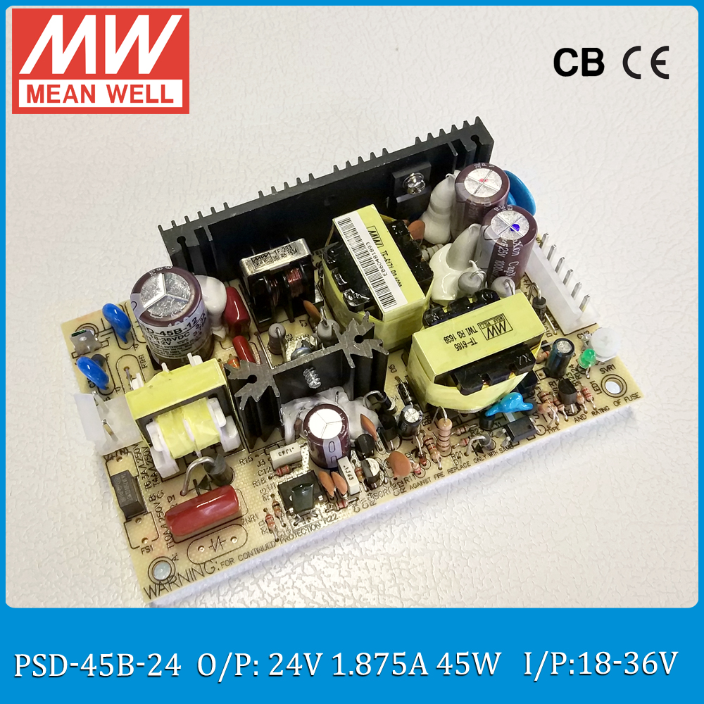 цена на Original MEAN WELL 45W DC DC regulated converter PSD-45B-24 Input 18~36VDC to 24V 1.875A 45W dc dc isolated converter PCB type
