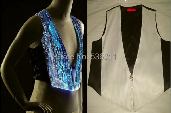 fashion 2017 T Shirts Multicolor changeable led men's t-shirt boys top KTV dancewear luminous clothing LED top waiter's vest