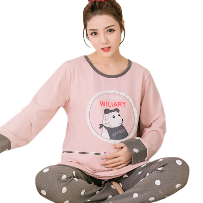 Spring Autumn Cute Cotton Pajamas Suit Pregnant Women Loose Casual Long Sleeved Two Piece Set Sleepwear Female Nursing Set