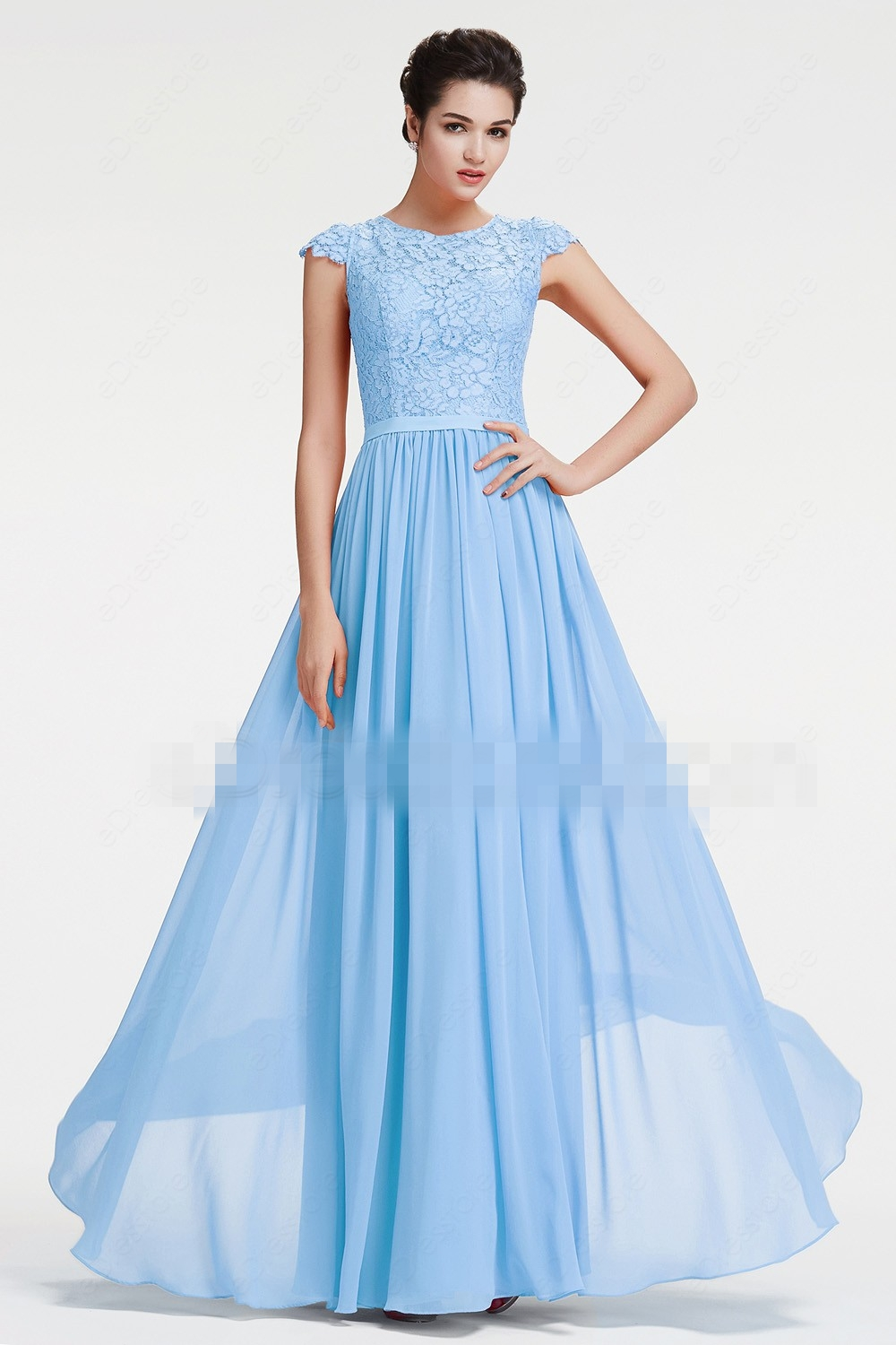 Blue Beach Long Modest   Bridesmaid     Dresses   With Cap Sleeves Lace Chiffon A-line Country Formal Wedding Party Gowns Custom Made