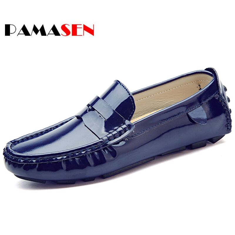 PAMASEN Fashion Casual Driving Shoes PU Leather Loafers Men Shoes New Bright Men Loafers Luxury Flats Shoes Men Chaussure 38-47 cbjsho brand men shoes 2017 new genuine leather moccasins comfortable men loafers luxury men s flats men casual shoes