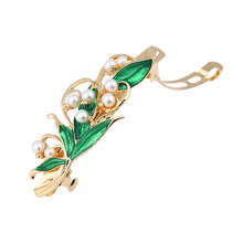 цена на Women Retro Enamel Hair Clip Hairpin Spring Clip Green Leaf Pearl Hair Accessories Ladies green pearl hair clip M22