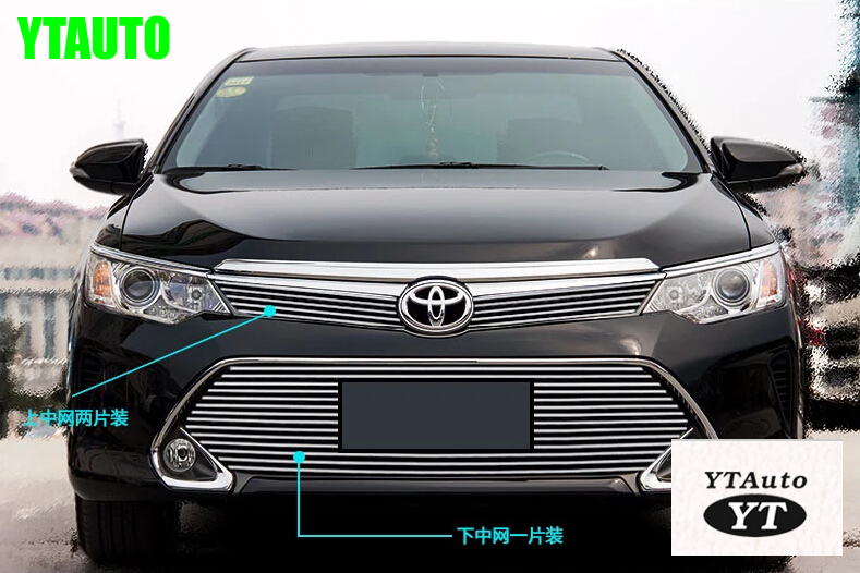 Front grille trims for Toyota Camry 2015 aluminum alloy,2pcs/set ,auto exterior accessories