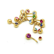 2019 New 828 Hot 2017 New Hot 1 Pc Unisex 9 Colors Charm Golden Crystal Ring Body Piercing Jewelry Navel Belly Button(China)