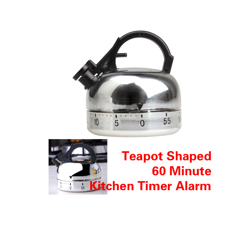 Hot Sale Clock Counting 60 Minute Kitchen Timer Alarm Mechanical Teapot Shaped Timer