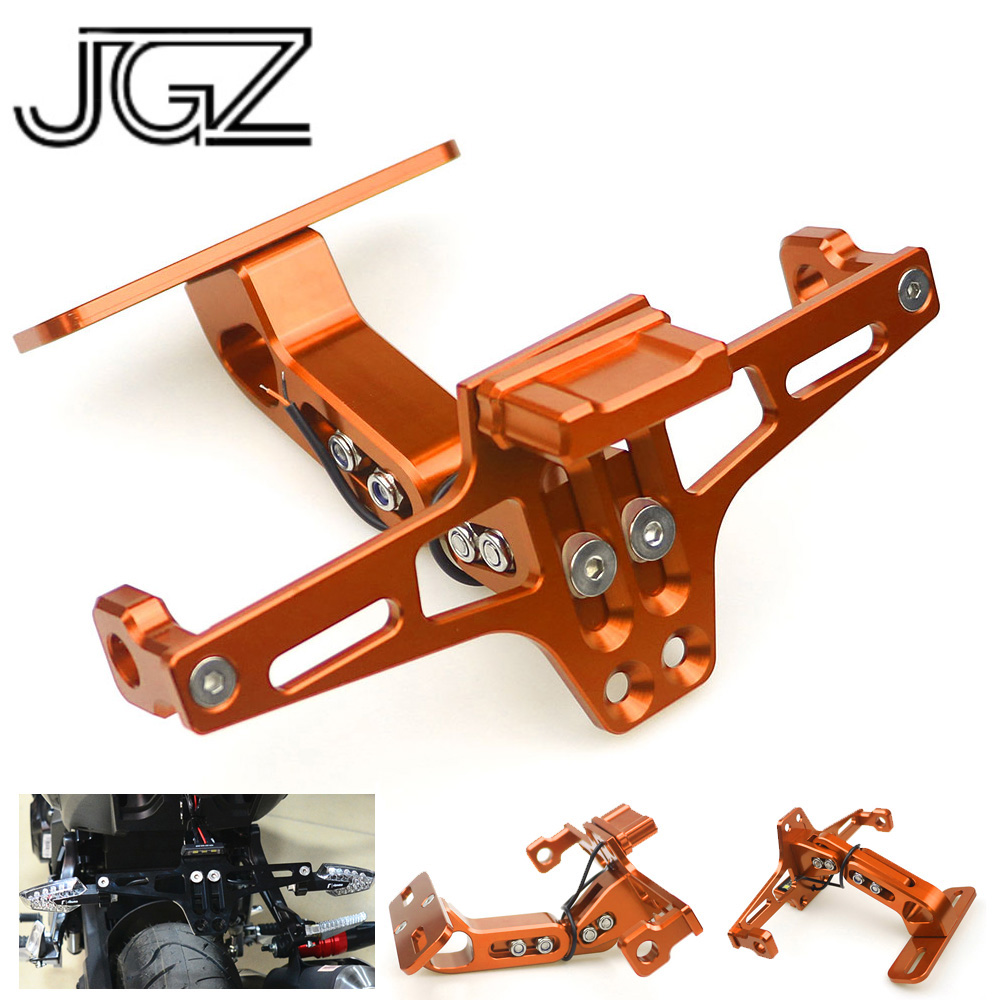 Orange Motorcycle License Plate Frame Holder CNC Bracket with LED White Light for KTM 125 200 250 390 690 790 1290 Duke RC390Orange Motorcycle License Plate Frame Holder CNC Bracket with LED White Light for KTM 125 200 250 390 690 790 1290 Duke RC390