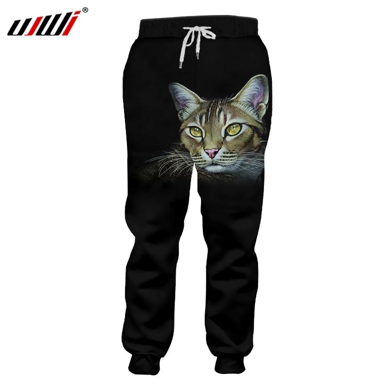 UJWI Man Creative New Pants Amber Eye Animal 3D Printed Interesting Beard Cat Oversized Unisex Sweatpants 6Xl