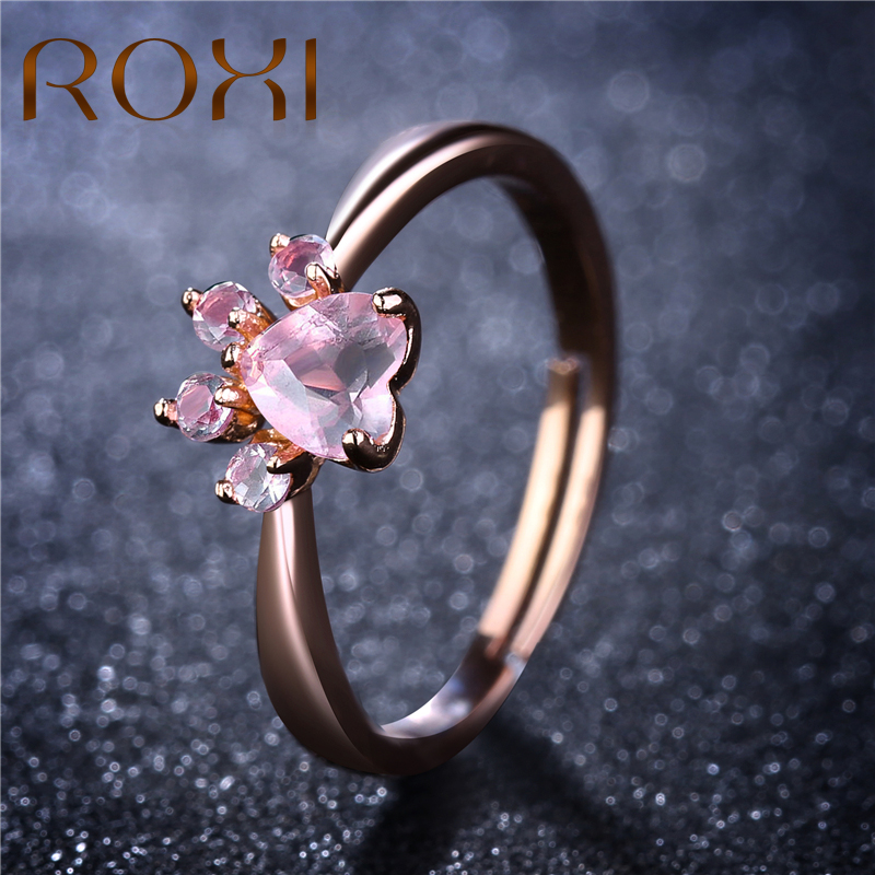 925 Sterling Silver Filled Open Ring Pink Crystal Rabbit Adjustable Women Gift