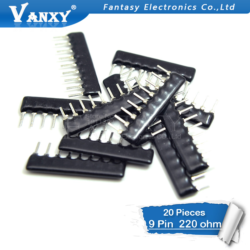 20pcs DIP Exclusion 9pin 220 Ohm  220R A221 A221J Network Resistor Array