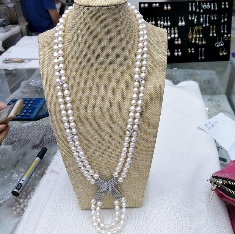 Lumière Naturelle D'eau Douce 7-8mm Gouttes Perles Perle Chandail À Longue chaîne CZ collier 20-21 POUCE