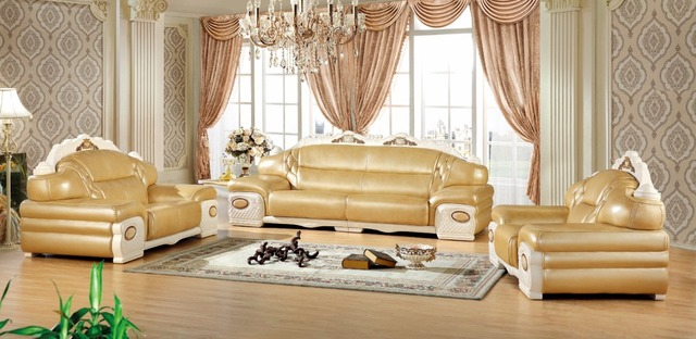 Modern European Leather Sofa Set Living Room China Sectional Wooden Frame 1 2
