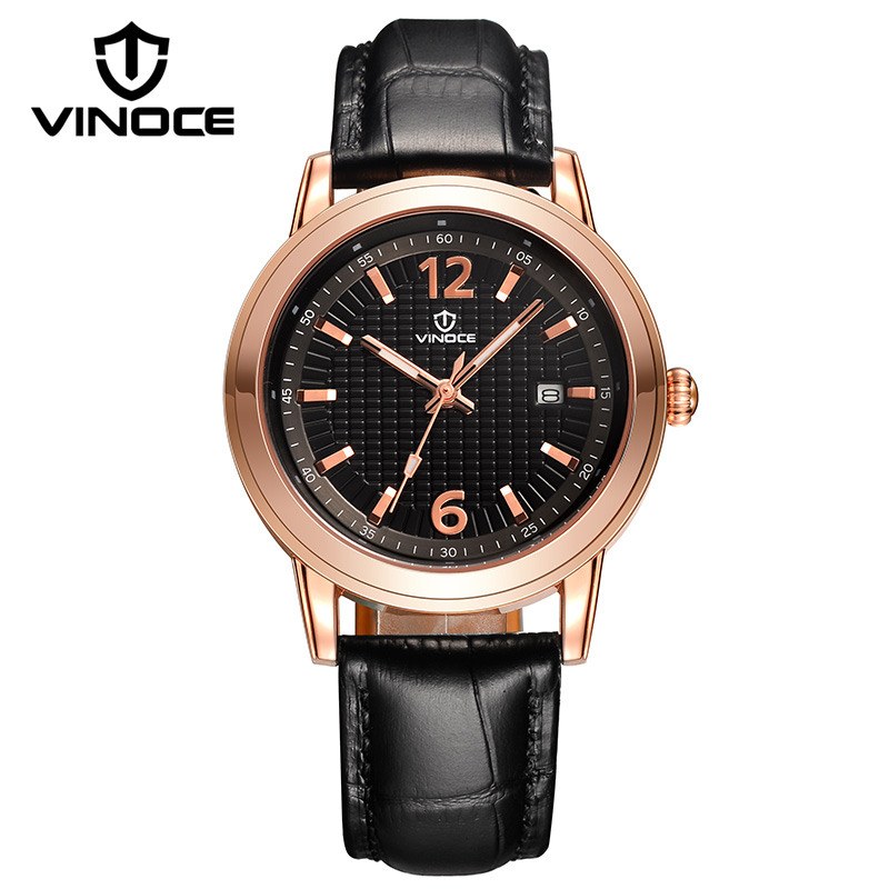 VINOCE Classic Genuine Leather Band Textured Dial Quartz Watches For Men Top Brand Montre Homme Business Calendar Male Clock