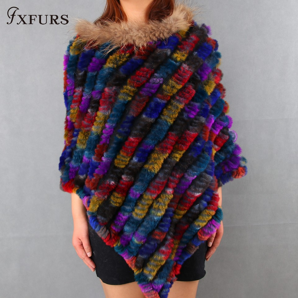 FXFURS 2017 New Knitted Rabbit Fur Poncho Women Fashion Fur Pashmina Stole Colorful Fur Scarves with Raccoon Fur Strips