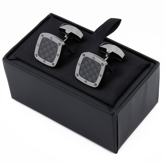 Classic Carbon Fiber Square Black Cufflinks