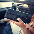 Genuine Leather Women Long Purse Leisure Wallet Clutches Solid Hasp Luxury Money Clip Vintage Simple Billfold Wristlets