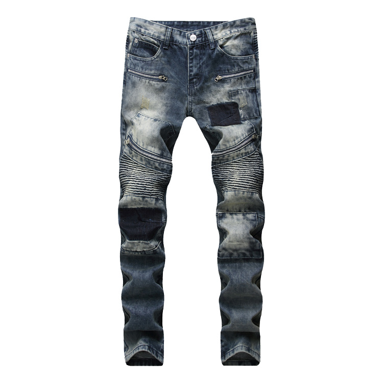 New 2018 Biker   Jeans   Men's Distressed Stretch Hip Hop Skinny Punk Denim   Jeans