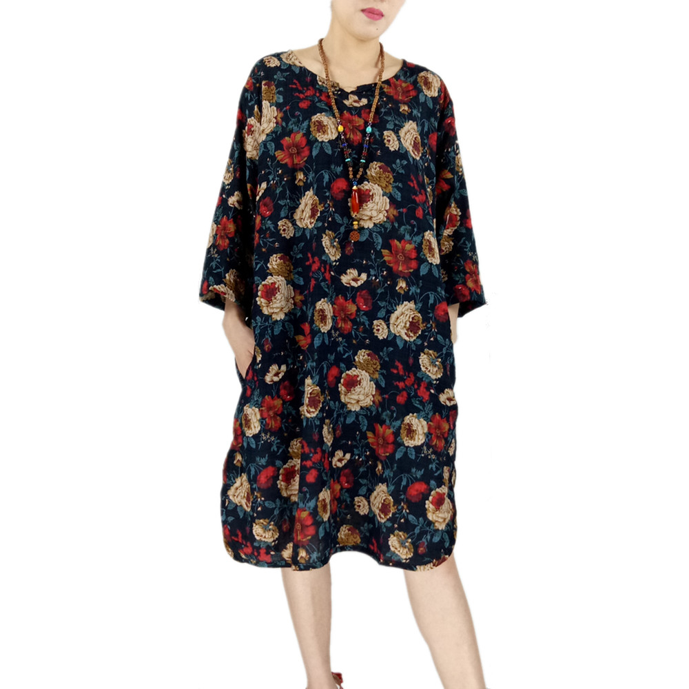 New Summer Cotton and Linen Flower Print Vintage Women Loose Casual Dress Soft Elegant Colorful O-Neck Pocket Female Party Dress