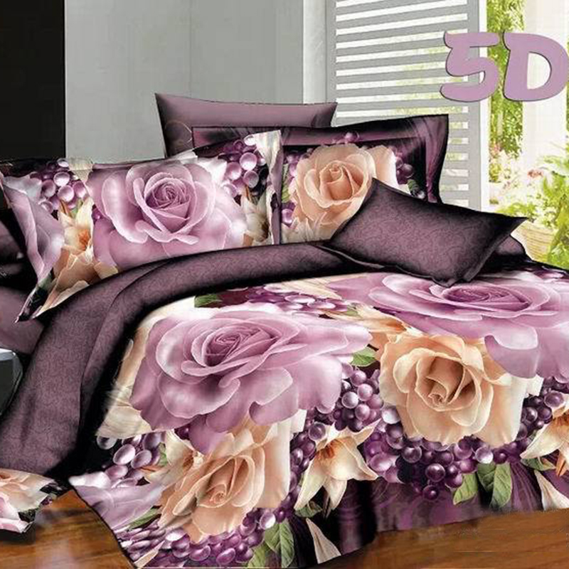 3D Purple Rose Flowers 4pcs/set Duvet Cover Sets Comfortable Romantic Bedding Sets Home Textile