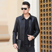 9b01d217106 Black 2019 Autumn Business Casual Leather Jacket Men Lapel Slim Coat  Clothing
