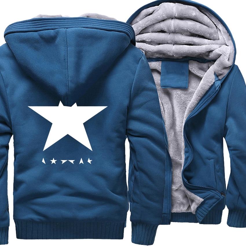 Sweatshirts Men 2019 Winter Fleece Thick Hoodies David Bowie Heroes Black Star Print Men's Sportswear Hoody Harajuku Sweatshirt-in Hoodies & Sweatshirts from Men's Clothing    1