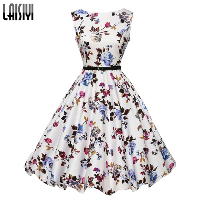 Laisiyi Summer Fashion Women dresses sexy elegant clothing Casual Dress Floral Printed Vintage Party Female Vestidos ASDR100031