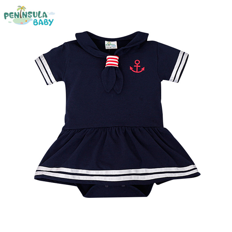 Baby Rompers Hot Sale Casual Newborn Navy Style Clothing Baby Boy Girl Romper Summer Short-Sleeve Sailor Clothes 2016 summer short sleeve baby boy sailor suit jumpsuit infant clothing navy newborn baby rompers