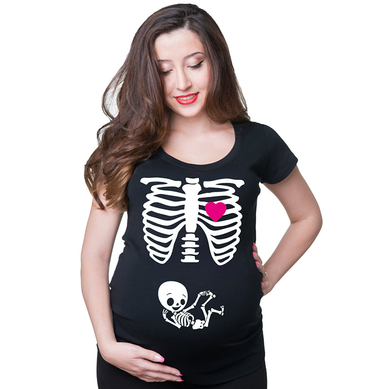 S-XXL Funny pregnancy shirts 9 colors maternity tops skeleton cotton t-shirts for pregnant women mom to be new maternity clothes cute maternity clothes women for pregnant tshirt clothes summer women t shirts maternity clothes tops for pregnant