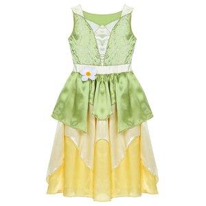 Image 3 - 5 10 jahre Mädchen Prinzessin Kleid Kind Weihnachten Grün EINE Linie Frosch Kleidung Kleid Phantasie Tiana Party Kleid für mädchen Cosplay Kleid Bis