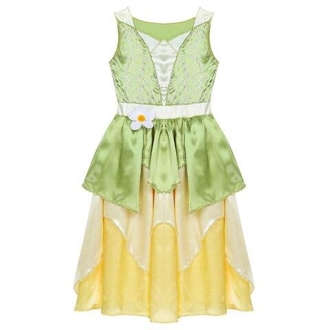 uma linha verde sapo roupas tiana vestido