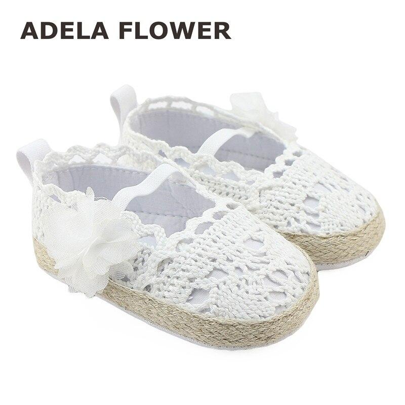 2016 New Spring Summer Newborn Baby Kids Girls Shoes White Princess Infant Toddler Flower Dress Soft Soled Non-slip Knit Shoes