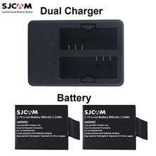 Оригинал Sjcam 1 ШТ. Двойной Зарядное Устройство + 2 ШТ. Батареи для Sjcam Sj5000 Sj4000 Sj5000 Plus Sj5000x/M10 Series спорт Действий Камеры