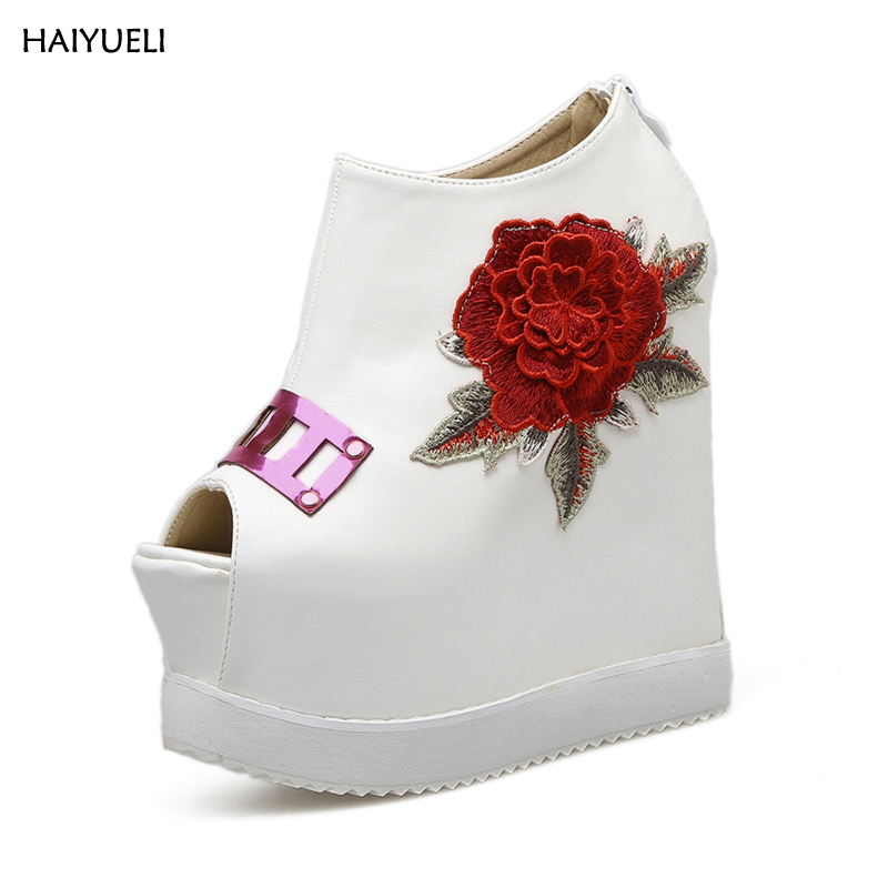 HAIYUELI Ladies high heels embroidery flower Shoes on a wedge platform shoes Ankle boots peep toe high heels women pumps nayiduyun women genuine leather wedge high heel pumps platform creepers round toe slip on casual shoes boots wedge sneakers
