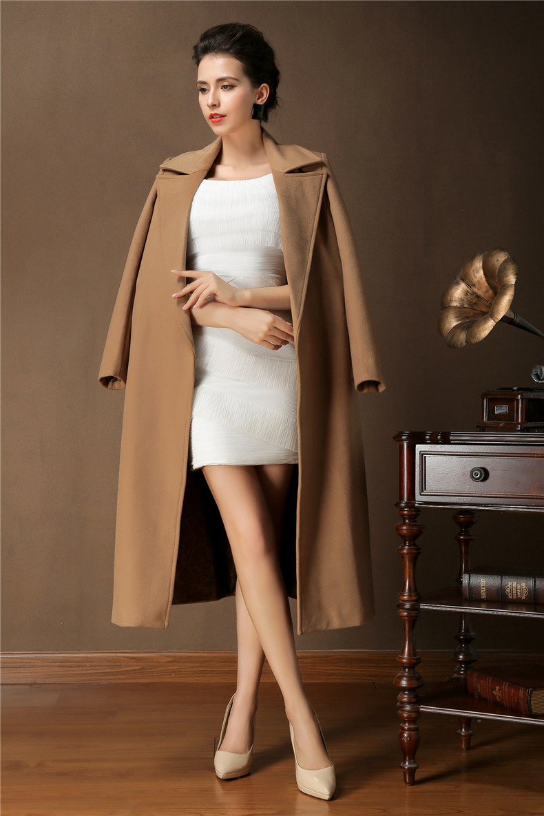 Womens Camel Cashmere Coat Jacketin