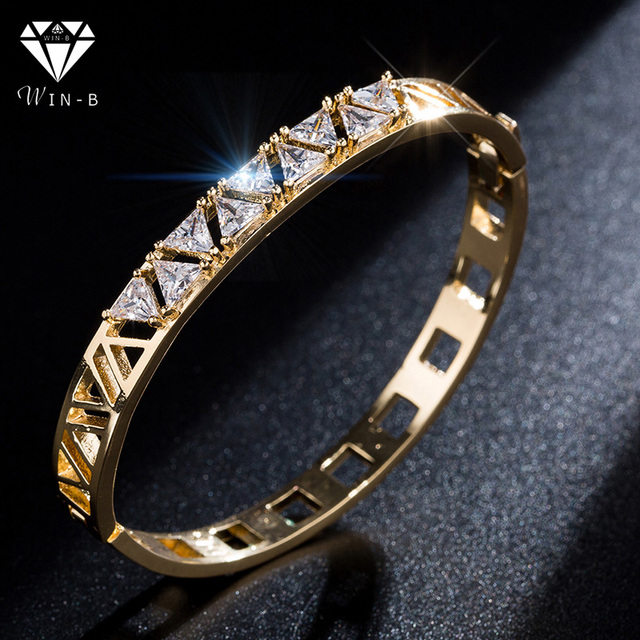 WIN-B Gold Bangles Indian Love Cuff Bangle Crystal Bling Bracelets Femme 2019 Stainless Steel Jewelry for Women Gift bijoux