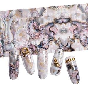 Image 4 - 3D 1 rouleau 4*120CM océan Style coquille Abalone motif ongles feuilles dégradé marbre conception feuilles Nail Art transfert thermique feuille