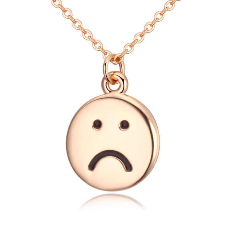 Medium Emoji Sad Face Necklace 12mm Pendant Silver Plated Color 0.6mm Link Chain Alison fashion Necklace jewelry DIY 2016