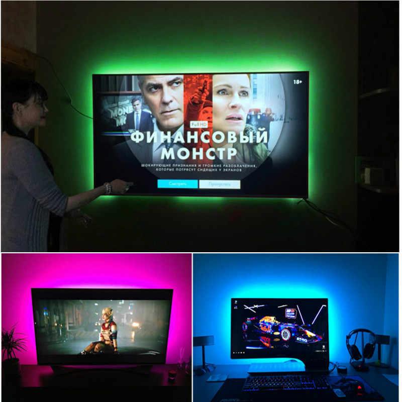 شريط ليد مزود بيو إس بي مصباح 2835SMD DC5V مرنة LED شريط ضوء الشريط 1M 2M 3M 4M 5M HDTV التلفزيون سطح المكتب شاشة خلفية التحيز الإضاءة