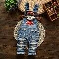 Розничная! Новорожденный брюки детей джинсы ребенка милый дизайн мультфильм мальчики и девочки ремень комбинезон 1 - 2 лет бесплатная доставка
