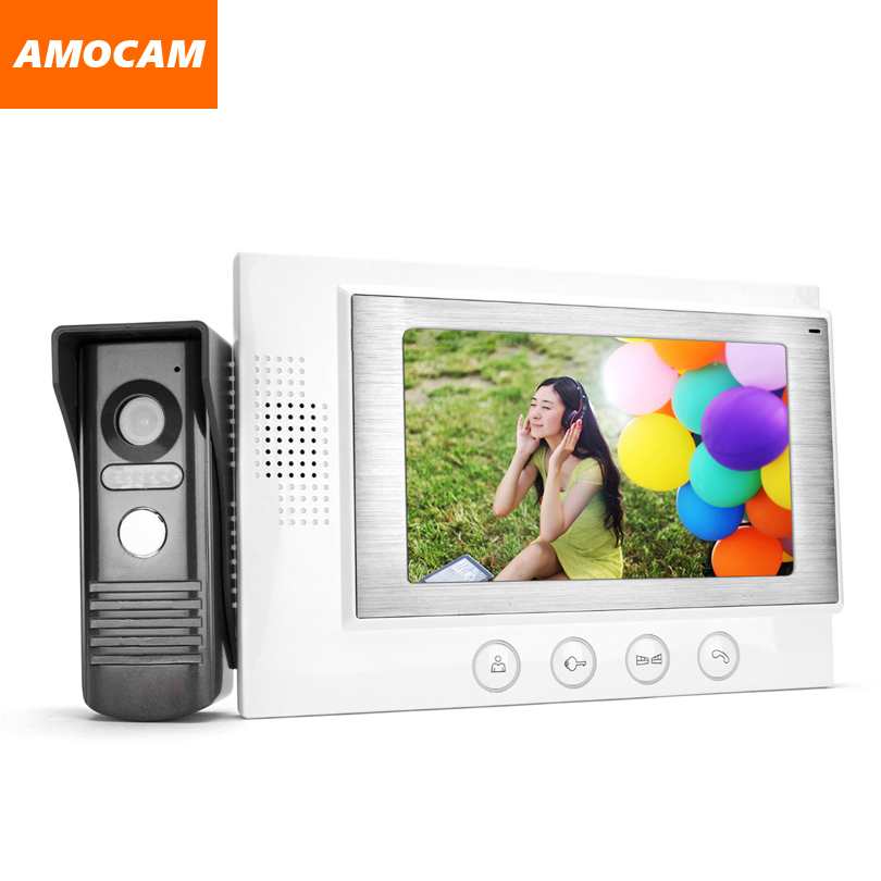 7 TFT-LCD Monitor Video Door Phone Intercom Doorbell High Definition IR Night Vision Wired Home Security Kits for Villa Home
