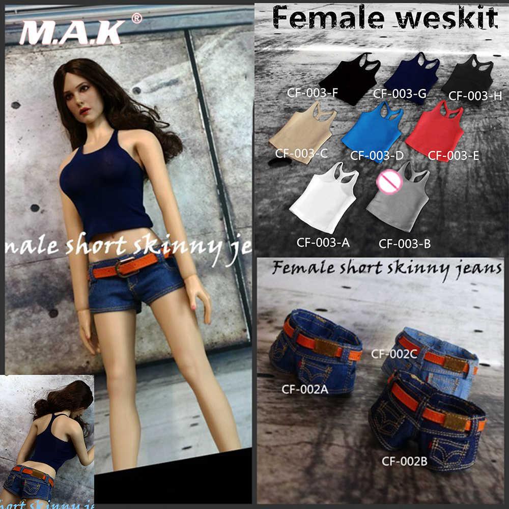 f6f28e66729 1/6 Female Sexy Cool Custom Sexy Slim stretch Sling Vest / low waist denim