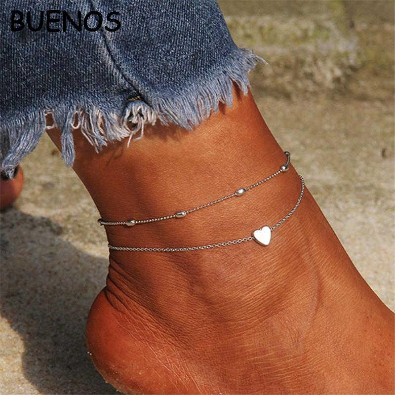 ブエノスアイレスボヘミアンハート女性アンクレット素足かぎ針編みサンダルフットジュエリー脚新アンクレットに足足首ブレスレット CE0600