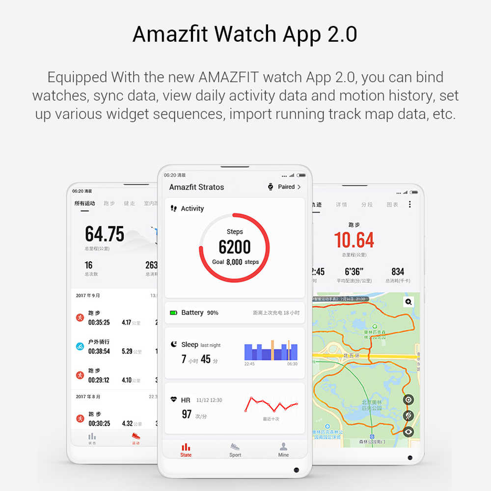 Xiaomi Huami Amazfit Stratos 2 Smart Watch Bluetooth GPS 5ATM Waterproof 11 Kind Sport Mode 50M Waterproof Bluetooth Music Watch